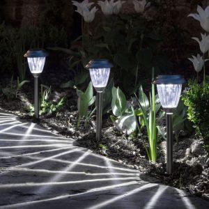 Lights4Fun Lot de 3 Balises Solaires en Acier Inox LED Blanches à Piquet pour Jardin