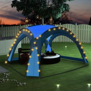VidaXL Tente de réception avec LED et 4 parois 3,6x3,6x2,3 m Bleu