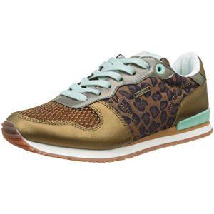 Pepe Jeans London Gable Print, Sneakers Basses Femme, Marron (Tobacco), 41 EU
