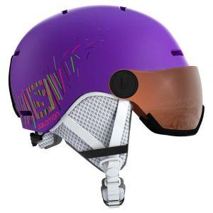 Salomon Casque de Ski et de Snowboard avec Visière pour Enfant, Coque In-Mold + Coque intérieure EPS, Taille M, Tour de Tête : 53-56 cm, GROM VISOR, Violet (Purple Mat), L40539500