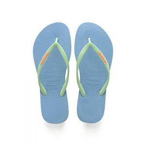 Havaianas Slim Logo - Sandales Femme - bleu EU 43/44 / taille brésilienne 41/42 Tongs