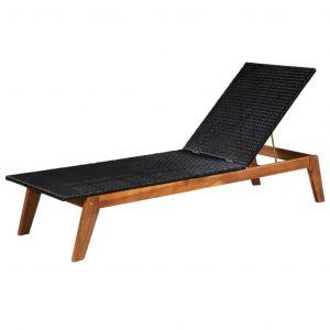 VidaXL Chaise longue Résine tressée et bois d'acacia massif