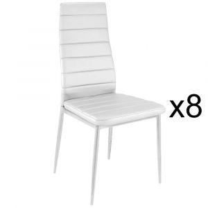 Dvl Deco Lot de 8 chaises blanches en métal KRONOS