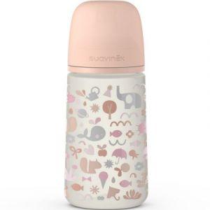 Suavinex Biberon avec tétine symétrique SX PRO M Mémories rose corail (270 ml)