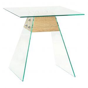 VidaXL Table d'appoint MDF et verre 45 x 45 x 45 cm Couleur de chêne
