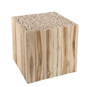 House and Garden Bout de canapé ethnique carré Nature Branches en bois teck massif naturel - L 45,5 x l 45,5 cm