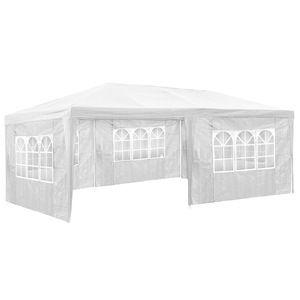 TecTake Pavillon de jardin blanc avec 5 panneaux latéraux