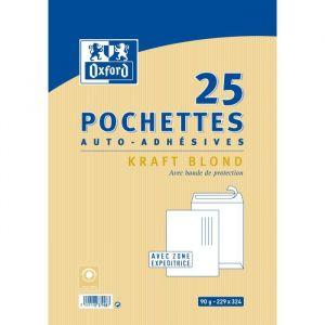 Oxford 25 Pochettes Kraft auto-adhésives - 32,4 cm x 22,9 cm x 1,5 cm