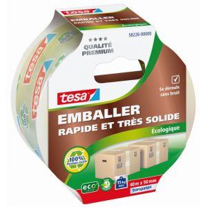 Tesa Adhésif d'emballage carton écologique - transparent - 40 m x 50 mm - Ruban gros emballage, Dévidoir