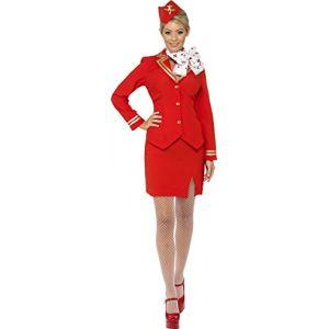 Smiffys Cost e hôtesse de l'air, rouge, avec veste, jupe, écharpe et coiffe