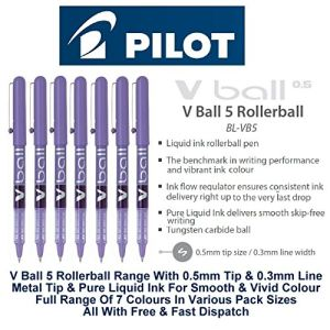Pilot 12 stylos roller V-Ball 05 violet pointe métal (0,5 mm)