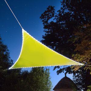Voile d'ombrage triangulaire Leds solaires 3,60 x 3,60 x 3,60 m Vert