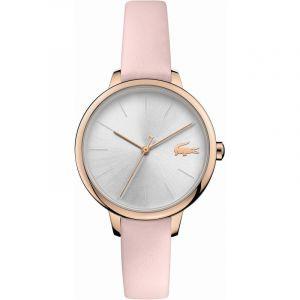 Lacoste Montre 2001101 - boitier acier plaque ionique or rose rond cadran argenté bracelet cuir rose Femme