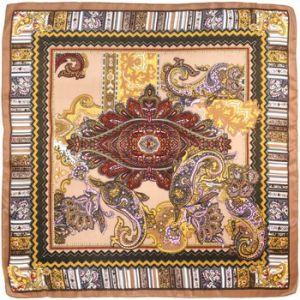 Allée du foulard Echarpe Carré de soie Cash frise bronze Beige - Taille Unique