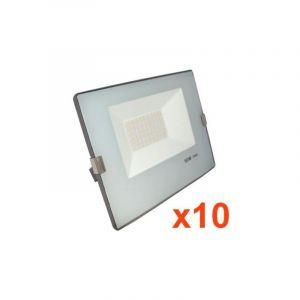 Silamp Projecteur LED Extérieur 50W IP65 - BLEU GRIS (Pack de 10) - couleur eclairage : Blanc Froid 6000K - 8000K