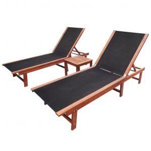 VidaXL Ensemble de chaises longues trois pièces en bois d'acacia