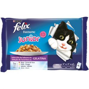 Purina Felix Multipack De 4 Sachets Fantastic Junior Grill En Gélatine 400 Gr