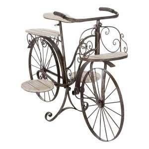 Atmosphera Vélo porte plante décoratif jardinière en bois chêne et fer forgé pour jardin, terrasse, véranda ou intérieur !