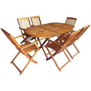 VidaXL Jeu de salle à manger d'extérieur pliable 7 pcs bois d'acacia table ovale