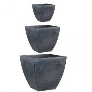 GCP105S - 3 cache-pot en zinc noir de 30 x 30 x 29 cm à 50 x 50 x 48 cm