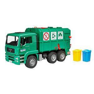 Bruder Toys 02753 - Camion poubelle MAN TGA vert avec 2 poubelles