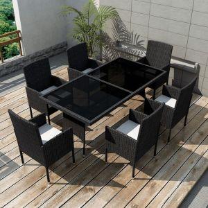 VidaXL Ensemble à dîner de jardin 13 pièces rotin synthétique noir