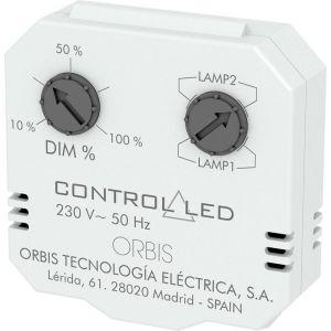 Orbis zeitschalttechnik OB200010 Variateur encastré Adapté pour: Ampoule électrique, Lampe à économie dénergie, Lampe halogène, Lampe LED blanc