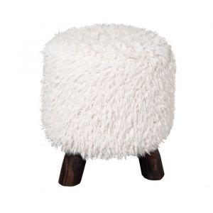 MACABANE Tabouret bas PASTEL fourrure 'biquette' Polyester, crème 29 x 29 x 37cm