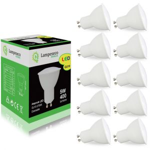 Lampesecoenergie Pack de 10 Ampoules Led GU10 5W Blanc Chaud 2700K eq. 50W Halogène 120° Dimmable