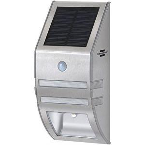 Brennenstuhl Lampe LED murale solaire avec détecteur de mouvements & capteur crépusculaire, projecteur (IP 44) à LED (2 x 30 lm), argent, Quantité : 1