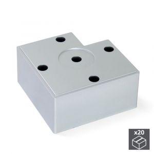 Emuca Lot de 20 pieds Alumix7 pour meubles, hauteur 45 mm finition gris métallisé