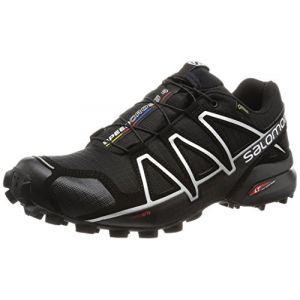 Salomon Homme Speedcross 4 GTX Chaussures de Trail Running, Imperméable, Noir (Black/Black/Silver Metallic -X), Taille: 48
