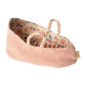 Maileg Carry cot, my - misty rose - taille : 6 cm
