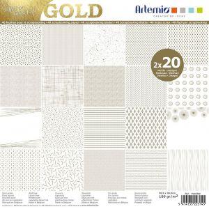 Artémio Set 40 feuilles scrapbooking motifs graphiques effet doré 30x30cm