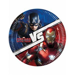 8 assiettes en carton Captain America Civil War (23 cm)