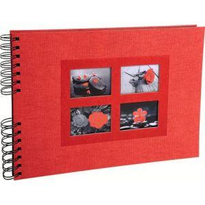 Exacompta 16245E - Album photos Passion 32x22 cm, 50p. noires/100 photos, reliure à spirales, rouge