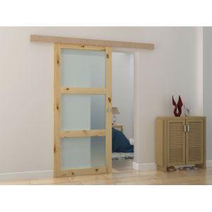 Porte coulissante en applique avec 3 fenêtres ACOSTA H205 x L93 cm MDF nature