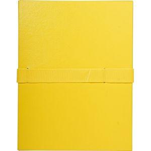 Exacompta Chemise extensible à rabat à velcro dos 13 cm jaune - Lot de 10