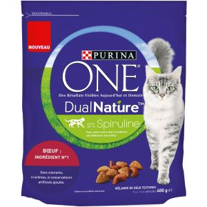 Purina 400g Dual Nature bœuf ONE - Croquettes pour chat