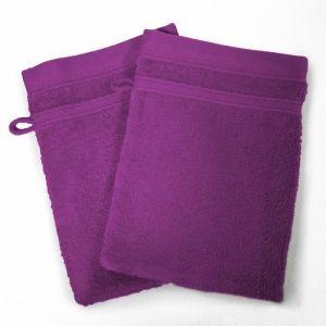 2 gants de toilette vitamine - 15 x 21 cm - eponge - violet