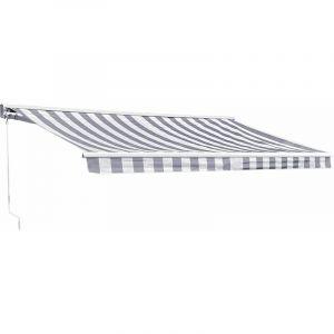 Happy Garden Store banne SAULE 3,95 × 3m avec semi-coffre - Toile rayée blanche/grise et structure blanche 2,95x2,5m Blanc