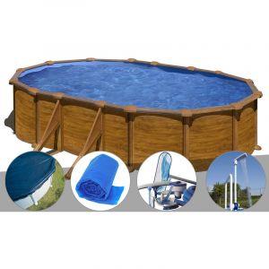 Gre Kit piscine acier aspect bois Mauritius ovale 5,27 x 3,27 x 1,32 m + Bâche hiver + Bâche à bulles + Kit d'entretien + Douche