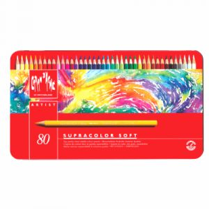 Caran d'Ache Supracolor Soft Lot de 80 crayons en coffret métal Couleurs assorties