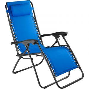 TecTake Chaise Longue de Jardin, Fauteuil de Jardin, Bain de Soleil Transat, Chaise de Camping Pliante 63 cm x 87,5 cm x 111 cm Bleu