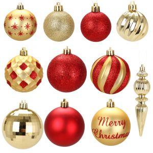 Kit de 74 boules de Noël rouge et or