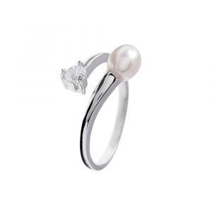 Blue Pearls Bague ajustable Perle de culture Pierre Cz et Argent 925, Blanc Noir ou Cranberry