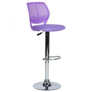 CARNATION BS Tabouret de bar violet en métal chromé - Revetement maille violet - Contemporain - L 42 x P 38 cm - Métal chromé - Revêtement maille violet - Assise L 40 x P 40 cm