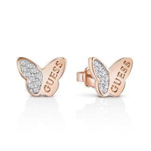 Guess Boucles d'oreilles Mariposa UBE83022 - Boucles d'oreilles Or Rose Papillons Femme