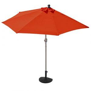 Mendler Demi-parasol aluminium Parla pour balcon ou terrasse, Ip 50+, 260cm ~ terracotta avec pied