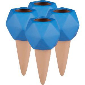 Relaxdays Cône d'arrosage en Argile, Lot de 4, Boules pour Bouteilles d'1,5 l, Accessoire en céramique, Terre Cuite/Bleu